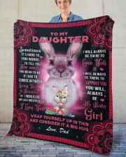 """Sometimes It's Hard To Find Words Dad To Daughter Fleece Blanket - 50"""" x 60"""" aos-coral-fleece-blanket-50x60-lifestyle-front-02"""