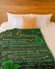 """Irish Blessing May Love And Laughter Light Ur Days Large Fleece Blanket - 60"""" x 80"""" aos-coral-fleece-blanket-60x80-lifestyle-front-02a"""