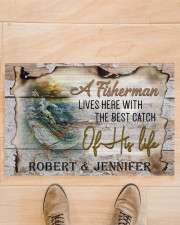 """Personalized Name An Old Fisherman To Husband Doormat 22.5"""" x 15""""  aos-doormat-22-5x15-lifestyle-front-02"""