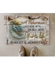 """Personalized Name An Old Fisherman To Husband Doormat 22.5"""" x 15""""  aos-doormat-22-5x15-lifestyle-front-04"""