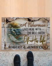 """Personalized Name An Old Fisherman To Husband Doormat 22.5"""" x 15""""  aos-doormat-22-5x15-lifestyle-front-10"""