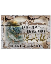 """Personalized Name An Old Fisherman To Husband Doormat 22.5"""" x 15""""  front"""