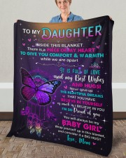 """Inside This Blanket Mom To Daughter Fleece Blanket - 50"""" x 60"""" aos-coral-fleece-blanket-50x60-lifestyle-front-02a"""