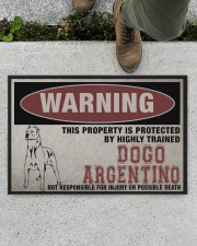 """Dogo this property is protected Doormat 22.5"""" x 15""""  aos-doormat-22-5x15-lifestyle-front-01"""