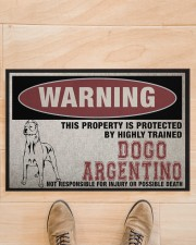 """Dogo this property is protected Doormat 22.5"""" x 15""""  aos-doormat-22-5x15-lifestyle-front-02"""