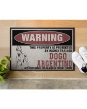"""Dogo this property is protected Doormat 22.5"""" x 15""""  aos-doormat-22-5x15-lifestyle-front-12"""