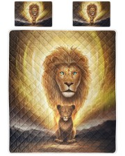Lion dad and son Queen Quilt Bed Set front