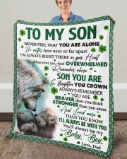 """Never Feel That You Are Alone Dad To Son  Fleece Blanket - 50"""" x 60"""" aos-coral-fleece-blanket-50x60-lifestyle-front-02a"""