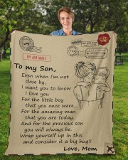 """Even When I'm Not Close By Mom To Son Fleece Blanket - 50"""" x 60"""" aos-coral-fleece-blanket-50x60-lifestyle-front-01a"""