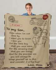 """Even When I'm Not Close By Mom To Son Fleece Blanket - 50"""" x 60"""" aos-coral-fleece-blanket-50x60-lifestyle-front-01c"""