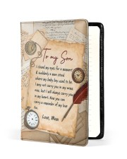 I Closed My Eyes For A Moment Mom To Son Medium - Leather Notebook front
