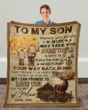 """Wherever Your Journey In Life Deer Dad To Son Fleece Blanket - 50"""" x 60"""" aos-coral-fleece-blanket-50x60-lifestyle-front-01c"""