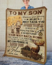 """Wherever Your Journey In Life Deer Dad To Son Fleece Blanket - 50"""" x 60"""" aos-coral-fleece-blanket-50x60-lifestyle-front-02"""