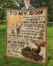 """Wherever Your Journey In Life Deer Dad To Son Fleece Blanket - 50"""" x 60"""" aos-coral-fleece-blanket-50x60-lifestyle-front-02b"""