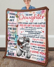 """Our Home Ain't No Castle Dad To Daughter Fleece Blanket - 50"""" x 60"""" aos-coral-fleece-blanket-50x60-lifestyle-front-02a"""