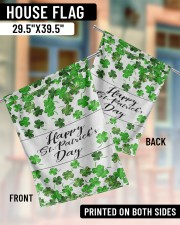 """Lucky Shamrock Happy St Patrick's Day 29.5""""x39.5"""" House Flag aos-house-flag-29-5-x-39-5-ghosted-lifestyle-07"""
