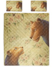 Lion mother and daughter Queen Quilt Bed Set front