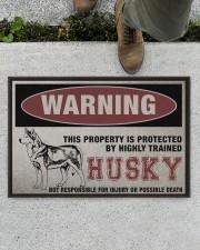 "Husky This Property Is Protected Doormat 22.5"" x 15""  aos-doormat-22-5x15-lifestyle-front-01"