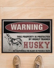 "Husky This Property Is Protected Doormat 22.5"" x 15""  aos-doormat-22-5x15-lifestyle-front-02"