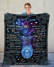 """I Love You To The Moon And Back Dad To Son  Fleece Blanket - 50"""" x 60"""" aos-coral-fleece-blanket-50x60-lifestyle-front-01"""