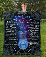 """I Love You To The Moon And Back Dad To Son  Fleece Blanket - 50"""" x 60"""" aos-coral-fleece-blanket-50x60-lifestyle-front-01a"""