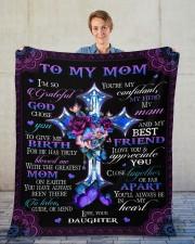 "I'm So Grateful God Chose You Daughter To Mom Fleece Blanket - 50"" x 60"" aos-coral-fleece-blanket-50x60-lifestyle-front-01"