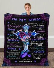 "I'm So Grateful God Chose You Daughter To Mom Fleece Blanket - 50"" x 60"" aos-coral-fleece-blanket-50x60-lifestyle-front-01c"