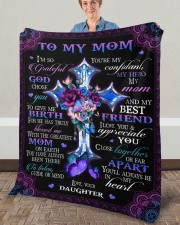 """I'm So Grateful God Chose You Daughter To Mom Fleece Blanket - 50"""" x 60"""" aos-coral-fleece-blanket-50x60-lifestyle-front-02a"""
