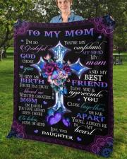 "I'm So Grateful God Chose You Daughter To Mom Fleece Blanket - 50"" x 60"" aos-coral-fleece-blanket-50x60-lifestyle-front-02b"