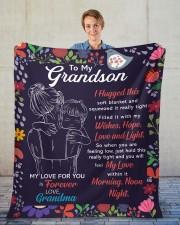 "I Hugged This Soft Blanket - Grandma To Grandson Fleece Blanket - 50"" x 60"" aos-coral-fleece-blanket-50x60-lifestyle-front-01"
