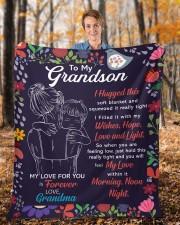 "I Hugged This Soft Blanket - Grandma To Grandson Fleece Blanket - 50"" x 60"" aos-coral-fleece-blanket-50x60-lifestyle-front-01b"