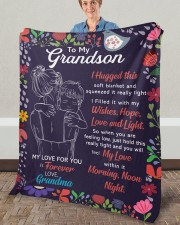 """I Hugged This Soft Blanket - Grandma To Grandson Fleece Blanket - 50"""" x 60"""" aos-coral-fleece-blanket-50x60-lifestyle-front-02a"""
