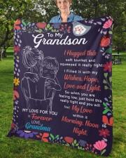"I Hugged This Soft Blanket - Grandma To Grandson Fleece Blanket - 50"" x 60"" aos-coral-fleece-blanket-50x60-lifestyle-front-02b"