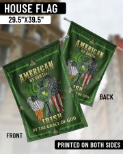 """American By Birth Irish By The Grace Of God 29.5""""x39.5"""" House Flag aos-house-flag-29-5-x-39-5-ghosted-lifestyle-02"""