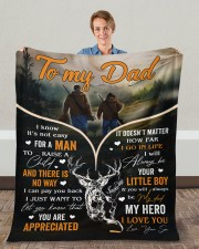"""It's Not Easy For A Man To Raise A Child To Dad Fleece Blanket - 50"""" x 60"""" aos-coral-fleece-blanket-50x60-lifestyle-front-01c"""