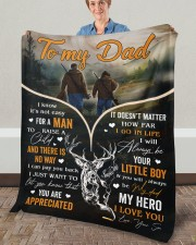 """It's Not Easy For A Man To Raise A Child To Dad Fleece Blanket - 50"""" x 60"""" aos-coral-fleece-blanket-50x60-lifestyle-front-02a"""