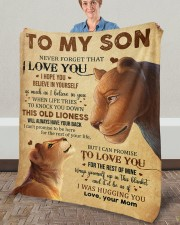 """Never Forget That I Love You Lion Mom To Son Fleece Blanket - 50"""" x 60"""" aos-coral-fleece-blanket-50x60-lifestyle-front-02a"""