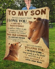 """Never Forget That I Love You Lion Mom To Son Fleece Blanket - 50"""" x 60"""" aos-coral-fleece-blanket-50x60-lifestyle-front-02b"""