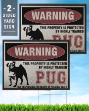 PUG dog this property is protected 24x18 Yard Sign aos-yard-sign-24x18-lifestyle-front-32