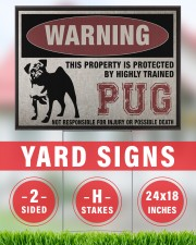 PUG dog this property is protected 24x18 Yard Sign aos-yard-sign-24x18-lifestyle-front-33