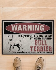 """Bull this property is protected Doormat 22.5"""" x 15""""  aos-doormat-22-5x15-lifestyle-front-02"""