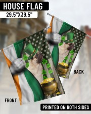 """Lucky Dog Shamrock Patrick's Day 29.5""""x39.5"""" House Flag aos-house-flag-29-5-x-39-5-ghosted-lifestyle-02"""