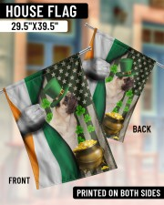 """Lucky Dog Shamrock Patrick's Day 29.5""""x39.5"""" House Flag aos-house-flag-29-5-x-39-5-ghosted-lifestyle-07"""