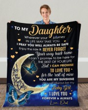 """Wherever Your Journey In Life Dad To Daughter Fleece Blanket - 50"""" x 60"""" aos-coral-fleece-blanket-50x60-lifestyle-front-01c"""