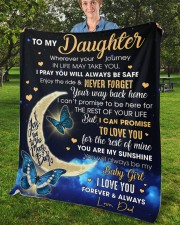 """Wherever Your Journey In Life Dad To Daughter Fleece Blanket - 50"""" x 60"""" aos-coral-fleece-blanket-50x60-lifestyle-front-02b"""