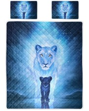 Lion Mom and Baby Queen Quilt Bed Set front