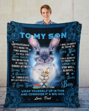"""Sometimes It's Hard To Find Words Dad To Son Fleece Blanket - 50"""" x 60"""" aos-coral-fleece-blanket-50x60-lifestyle-front-01"""