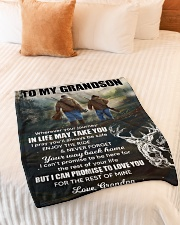 """Wherever Your Journey In Life Deer To Grandson Small Fleece Blanket - 30"""" x 40"""" aos-coral-fleece-blanket-30x40-lifestyle-front-01"""