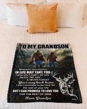 """Wherever Your Journey In Life Deer To Grandson Small Fleece Blanket - 30"""" x 40"""" aos-coral-fleece-blanket-30x40-lifestyle-front-04"""