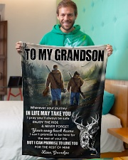 """Wherever Your Journey In Life Deer To Grandson Small Fleece Blanket - 30"""" x 40"""" aos-coral-fleece-blanket-30x40-lifestyle-front-09"""
